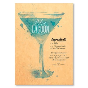 Poster metalowy Drink Blue Lagoon