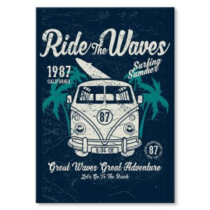 Poster metalowy Ride the waves