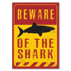 Metal poster Beware shark