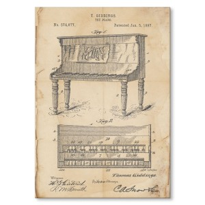 Poster metalowy Piano instrument Retro