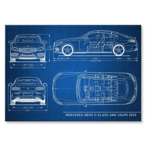 Poster metalowy Mercedes C AMG Tech