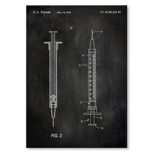 Poster metalowy Medical syringe Slate
