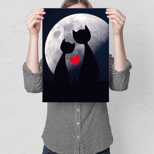 Plakat metalowy Cats in love Prezent